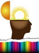 Otevřít mysl s slunce uvnitř — Stock vektor