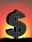 Dollar Visa i solsken — Stockvektor