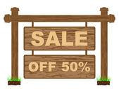 Banner reklamy do sprzedaży pięćdziesiąt procent rabatu — Wektor stockowy
