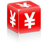 Caja con yen firme en — Vector de stock