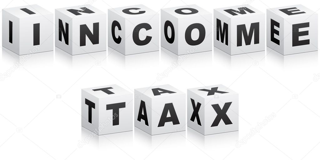 Income tax word — Stock Vector #7503224