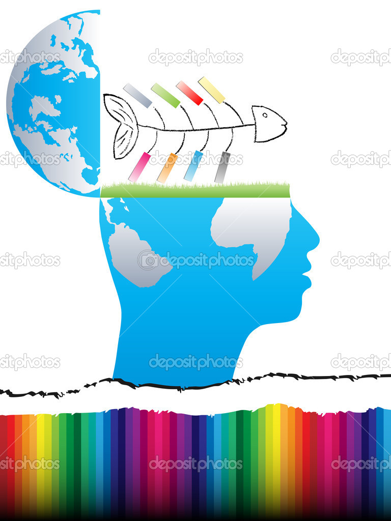 Open mind design with fish  Stock Vector #7503632