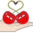 Two red cherry in love — Vector de stock #7528666
