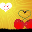 Two red cherry in love — Stockvektor