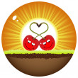 Two red cherry in love  — Imagen vectorial