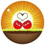zwei rote Kirsche verliebt — Stockvektor