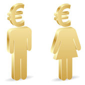 Man and woman with euro — 图库矢量图片