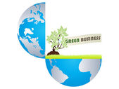 Green business in open earth — Stock Vector