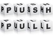 Palabra pull y push — Vector de stock