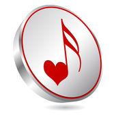 Song of love button — Stock Vector