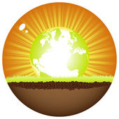 Sunshine ball with earth — Stock Vector