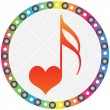 Stock Vector: Song of love button