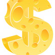 Dollar cheese icon — Stock Vector