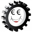 Cartoon face euro — Stock Vector