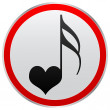 Song of love button — 图库矢量图片