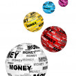 Money text on balls — Stock Vector