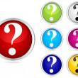 Stock Vector: Question buttons different colors
