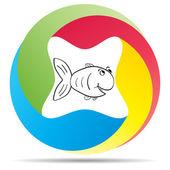 Fish button — Stock Vector