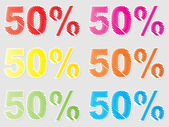 Cinquanta per cento di sconto — Vettoriale Stock
