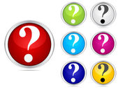 Question buttons different colors — Stock Vector