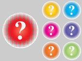 Question buttons different colors — Vettoriale Stock