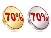 Seventy percent discount icon — Stock Vector