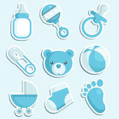 Baby Boy Shower Icons. — Stock Vector