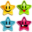 Stock Vector: Happy Smiley Stars