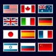 Royalty-Free Stock Vector Image: Stamp world flags.