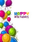 Tarjeta del feliz cumpleaños globos — Vector de stock