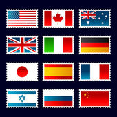 Stamp world flags. — Stock Vector