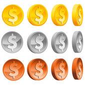 Dollar-münzen — Stockvektor