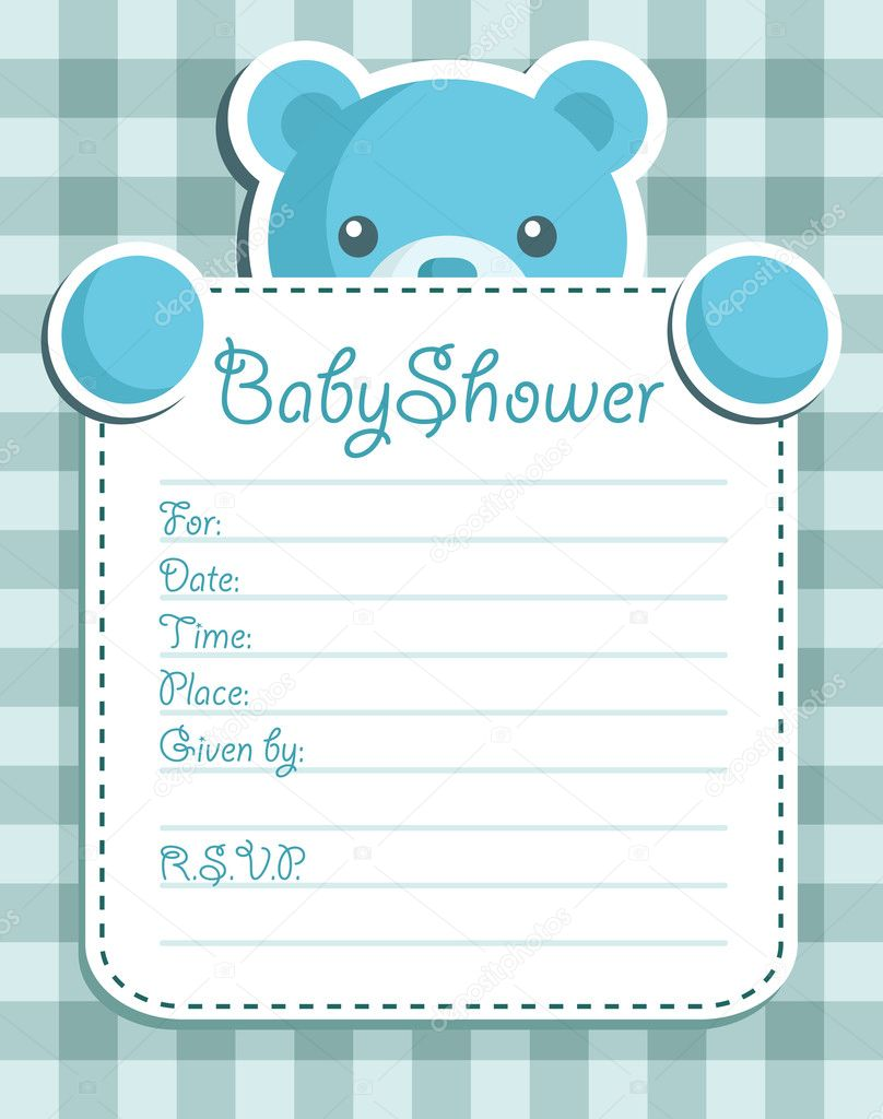 Baby boy arrival card vector by leonart image 600444 vectorstock - Cart O Do Convite Do Chuveiro De Beb Urso Vetor De Wallpaper Gallery Baby Boy