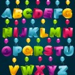 3d alphabet with birthday balloons — Stock Vector