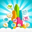 Colorful city with speech bubbles social media icons — Stock Vector