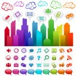 Stock Vector: Colorful Rainbow City