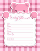Pink bear holding baby shower invitation card — Stock Vector