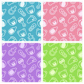 Seamless Baby Shower Patterns — Stock Vector