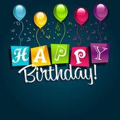 Feliz cumpleaños con globos — Vector de stock
