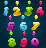 Happy Birthday Numbers with Balloons — Stock Vector