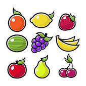 Colorful Fruit Icons — Stock Vector