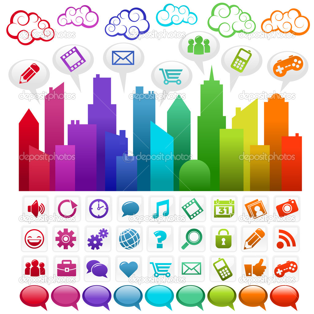 Colorful rainbow city and clouds with social media icons. — Stock Vector #7782548