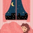 Pretty girl sleeps - Stock Vector