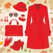 Autumn fashion set — Stock Vector