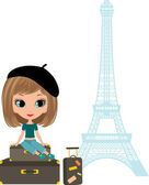 Pretty girl sits on a suitcase against Tour d'Eiffel — Stock Vector