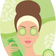 Beautiful young woman with a cucumber in the face of — Stock Vector #7556802