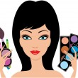 Woman with decorative cosmetics in hands — Stock Vector #7556879