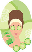 Beautiful young woman with a cucumber in the face of — Stock Vector