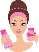 Beautiful young woman with a cosmetics set — Stock Vector