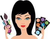 Woman with decorative cosmetics in hands — Stock Vector